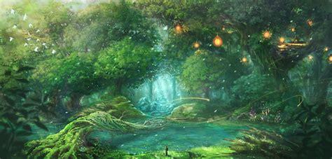 Anime Forest Wallpaper - original anime forest landscape wallpaper 1875x900