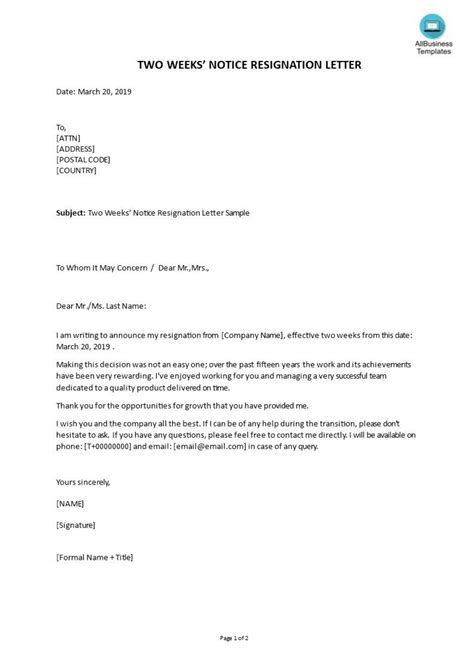 Letter Of Resignation Template Free ~ Addictionary