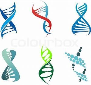Dna And Molecule Symbols Set For Chemistry Or Biology