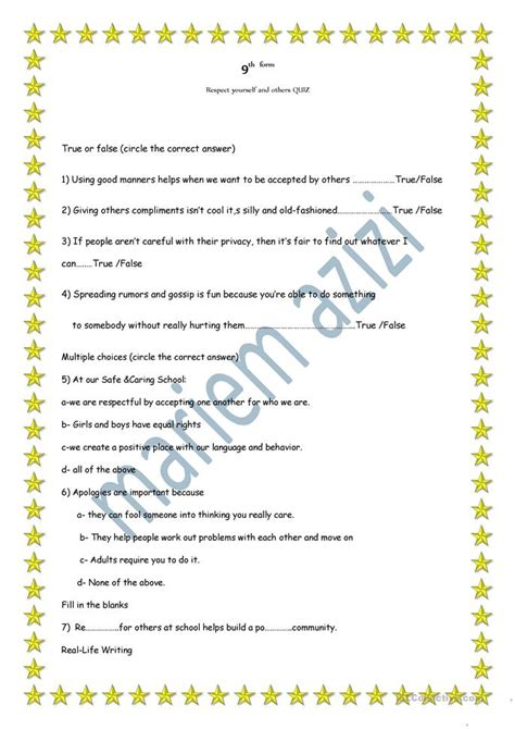 Quiz About Respect Worksheet  Free Esl Printable Worksheets Made By Teachers