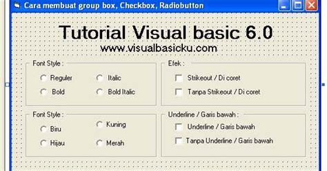 cara membuat group box checkbox radiobutton di vb6