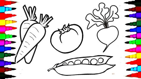 draw  coloring pages fruits  vegetables  kids