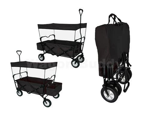 Black Folding Wagon W/ Canopy Garden Utility Travel Cart