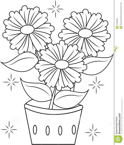 clipart fiore pagina di coloritura vaso di fiore illustrazione di