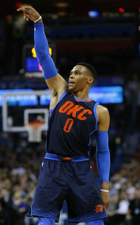oklahoma citys russell westbrook  reacts   shot