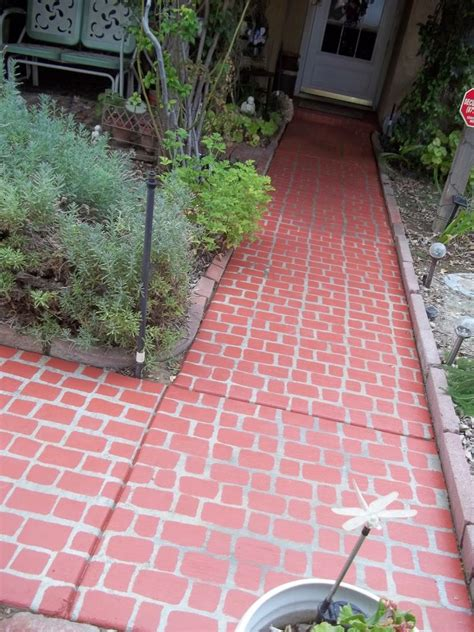 hometalk faux brick walkway   mixture  leftover