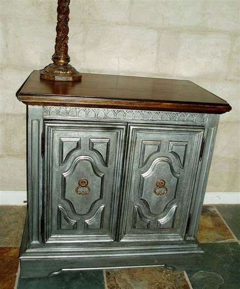 Faux Painting + Furniture Antiqued Pewter Side  Accent Table