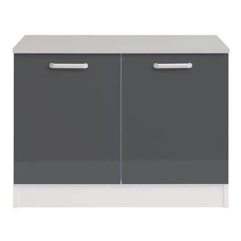meuble de cuisine 120 cm meuble bas 2 portes 120 cm quot shiny quot gris