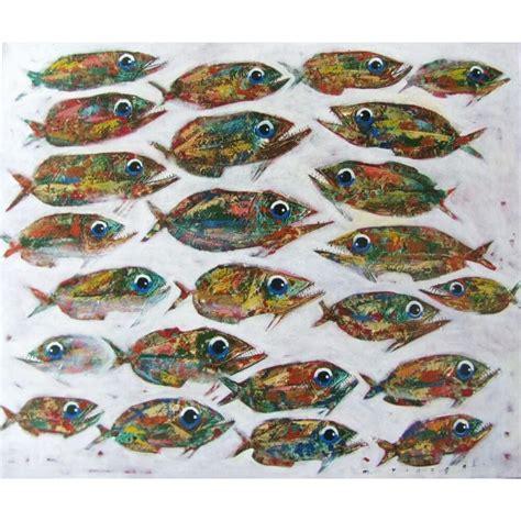 Tableau Banc De Poissons Sur Fond Blancpeinture Art Marin