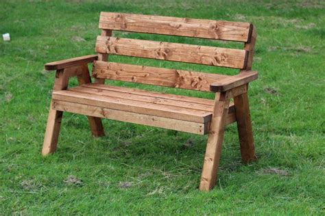 solid 2 seater wooden garden bench traditional design