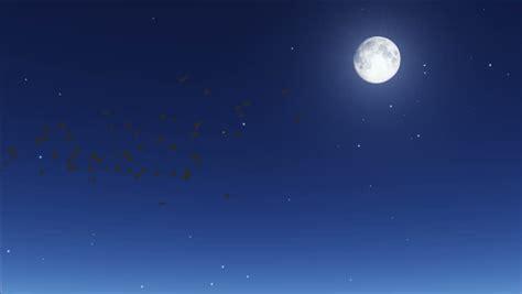 Cartoon Night Full Moon Shooting Stars