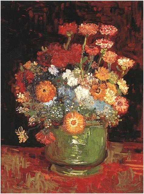 vase  zinnias  vincent van gogh  painting