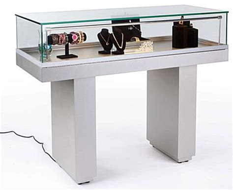 sit  jewelry case hydraulic lift opening silver base