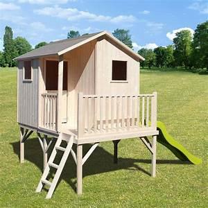 Cabane Toboggan Pas Cher : cabane en bois pour enfant avec toboggan les cabanes de ~ Dailycaller-alerts.com Idées de Décoration