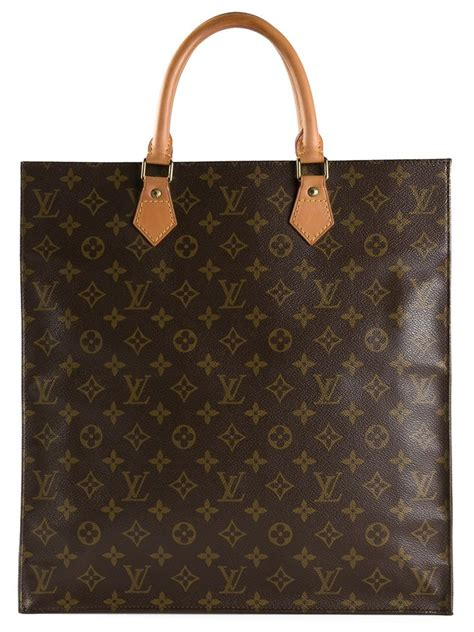 louis vuitton leather monogram flat sac bag  brown lyst
