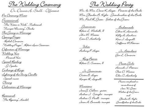 wedding program sle wording ideas the world s catalog of ideas