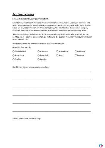 beschwerdebogen beschwerdemanagement qualitaetsmanagement