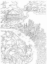 Coloring Country Scenes Gazebo Scene Dover Paint Printable Garden Dreamy Publications Sheets Nature Adult Colorare Numbers Coloriage Line Paradise Pagine sketch template