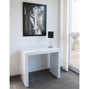 Table Blanc Laqué Extensible Ikea : table console extensible blanc laque design ~ Nature-et-papiers.com Idées de Décoration