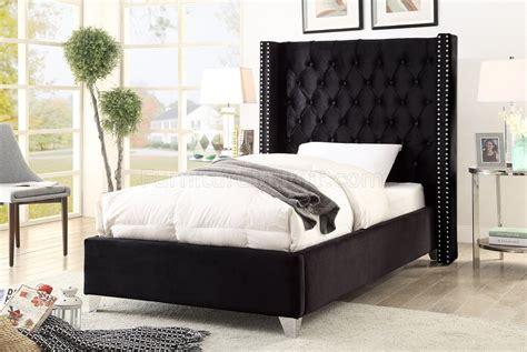 Aiden Bed In Black Velvet Fabric By Meridian W/options