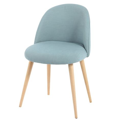 maison du monde chaise fabric and solid birch vintage chair in blue mauricette