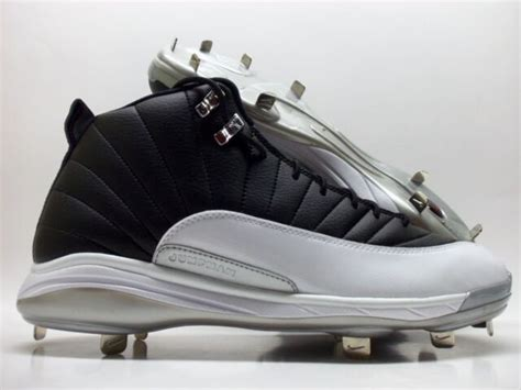 nike jordan xii  retro metal leather men baseball cleats