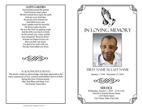 praying hands funeral program template elegant memorials