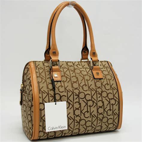 calvin klein authentic khakibrowncamel signature satchel bag handbag purse nwt ebay