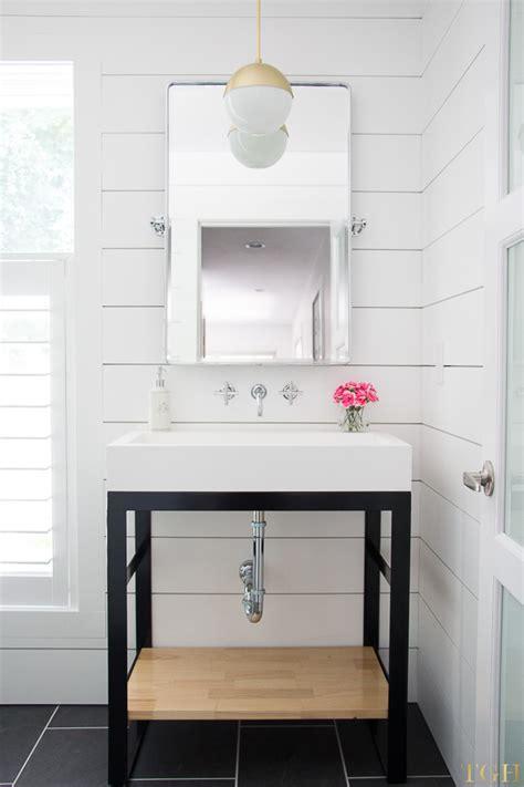 White Shiplap Bathroom by White Modern Bathroom Makeover The Greenspring Home