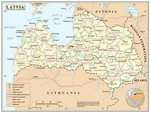Large detailed political and administrative map of Latvia ...