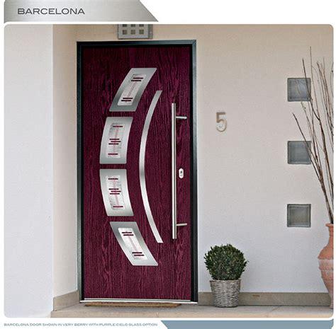 modern entry door barcelona design fiberglass door   arch design lites  custom glass