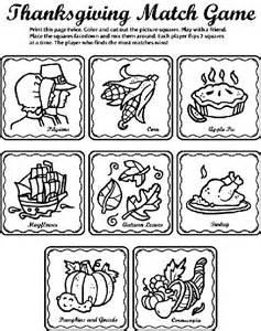 Printable Thanksgiving Matching Games