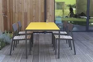 Salon De Jardin Couleur : salon de jardin cora table rectangle 175 cm et 4 chaises m tal aluminium de couleur plateau ~ Teatrodelosmanantiales.com Idées de Décoration
