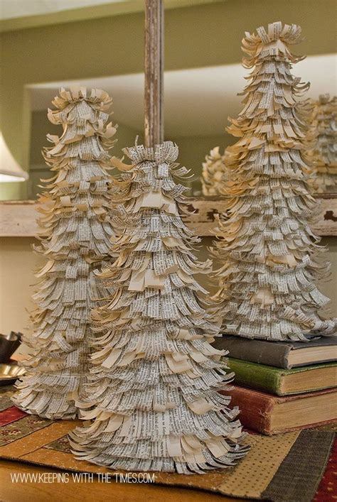 dictionary paper trees christmas diy vintage holiday