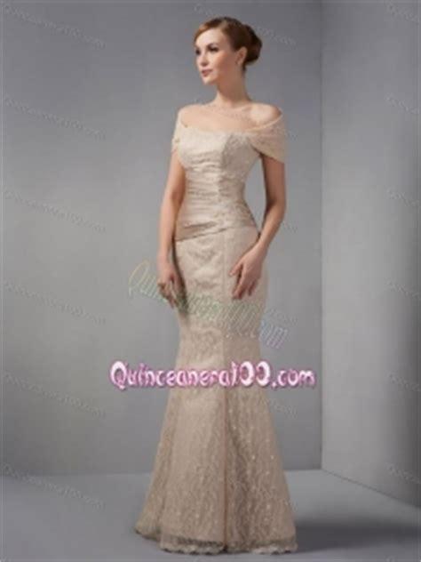 unique   shoulder champagne mother   dress
