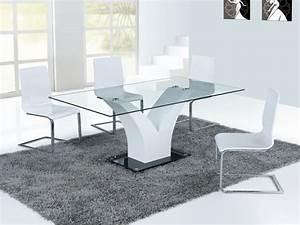 Table En Verre Rectangulaire : table repas dina en verre rectangulaire 65209 ~ Teatrodelosmanantiales.com Idées de Décoration