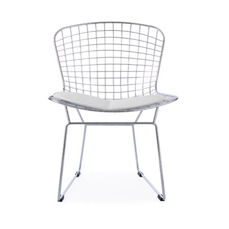 white mesh chaise lounge chair harry bertoia wire side chrome chair white cushion