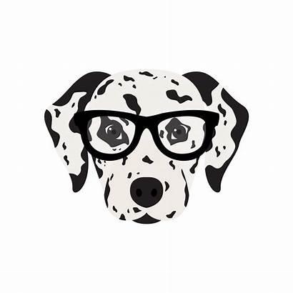 Dalmatian Glasses Dog Vector Illustration Animal Pattern