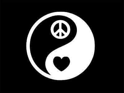 YIN YANG Peace Heart Love Vinyl Decal Car Wall Laptop ...