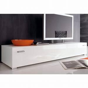 Meuble Bas Salon : meuble bas tv largeur 100 ou 150 cm blanc autres mobilier 3suisses ~ Teatrodelosmanantiales.com Idées de Décoration
