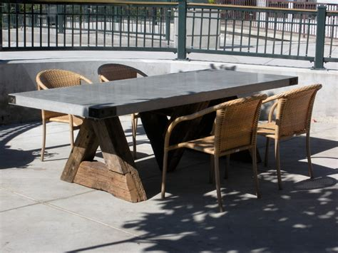 triangle table  concrete top eclectic dining room