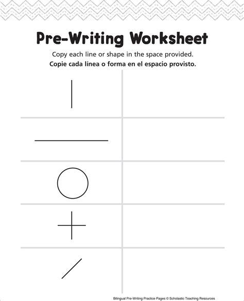 pre writing worksheet bilingual practice page pre