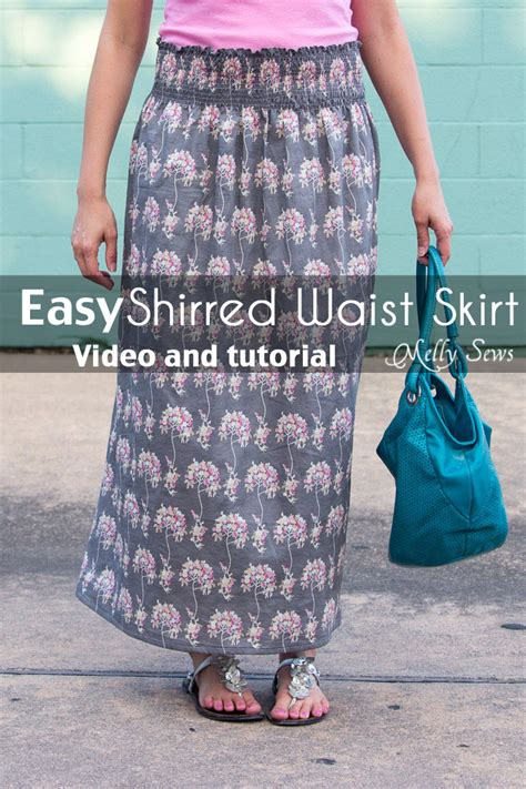 how to sew how to sew with elastic thread shirred skirt tutorial melly sews