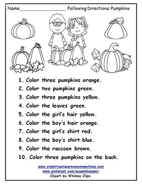 worksheets activitiesfollowing instructions gs