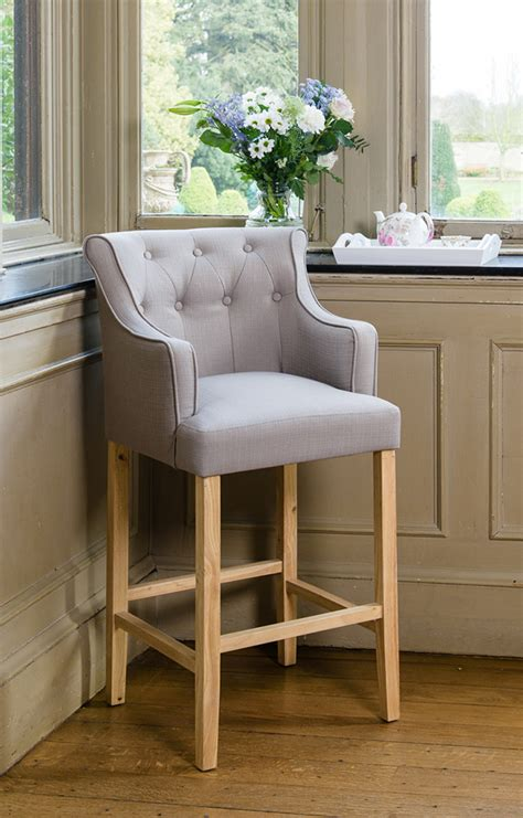 Upholstered Kitchen Counter Stools by Grey Upholstered Button Breakfast Bar Stool Wooden Oak