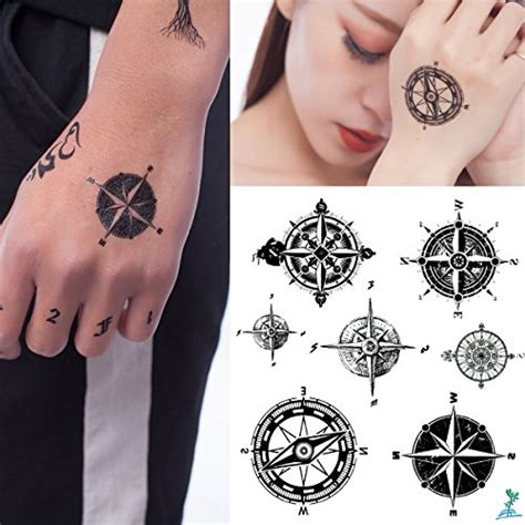 yeeech compass directions temporary tattoos sticker black
