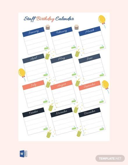 staff birthday calendar template  word excel