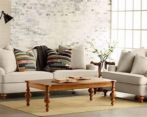 salon blanc et beige un coin douillet et paisible domine With tapis de marche avec meuble pont canape