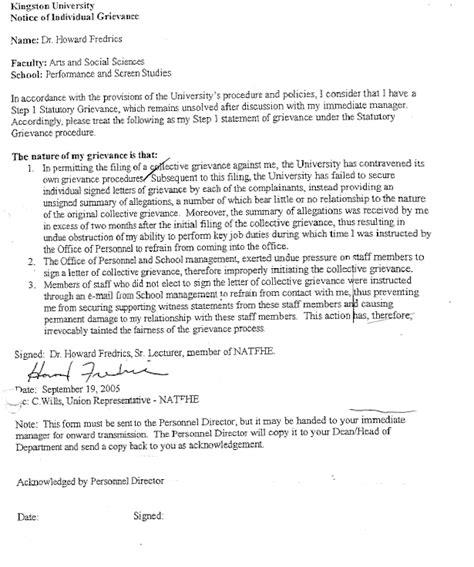 grievance letter template carol gartrell deputy school of performance and screen studies kingston