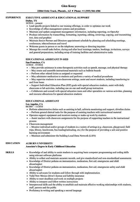 Support Assistant Resume Sle by Educational Assistant Resume Sles Velvet